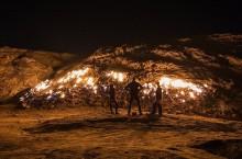 Где расположена постоянно горящая гора Таш-Кух