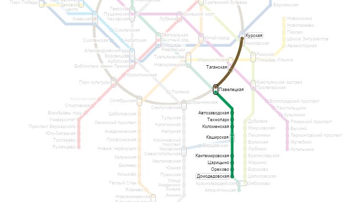 от метро курская до метро домодедовская