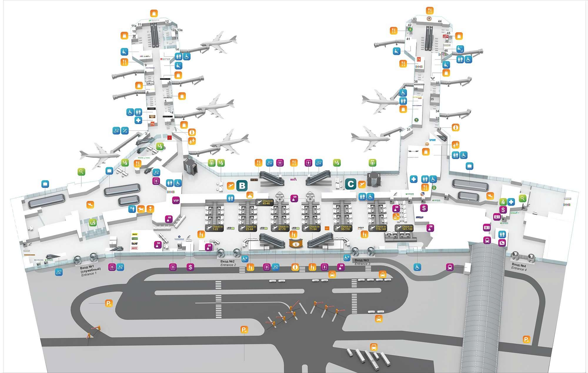 Схема первого этажа аэропорта Домодедово