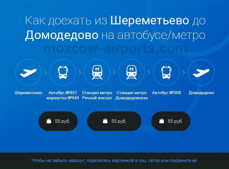 Как добраться из Шереметьево до Домодедово на автобусе, метро