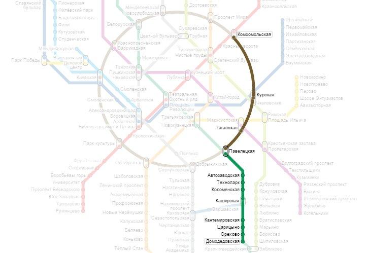 метро Комсомольская - метро Домодедовская