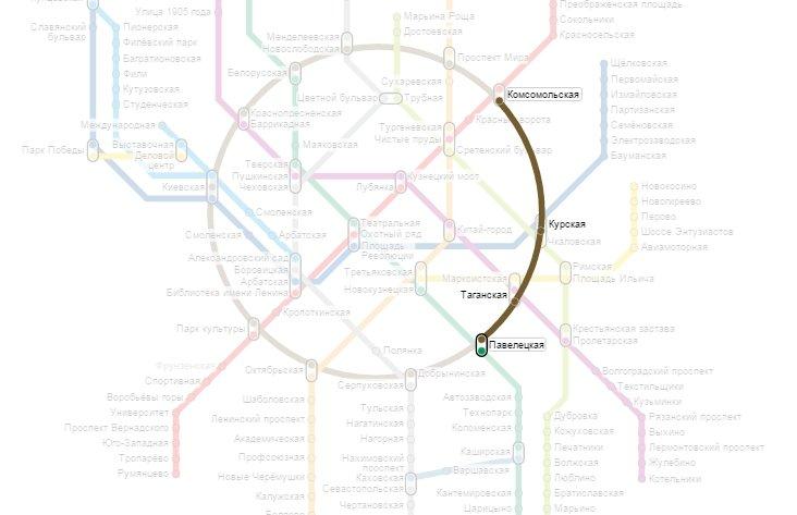 метро Комсомольская - метро Павелецкая
