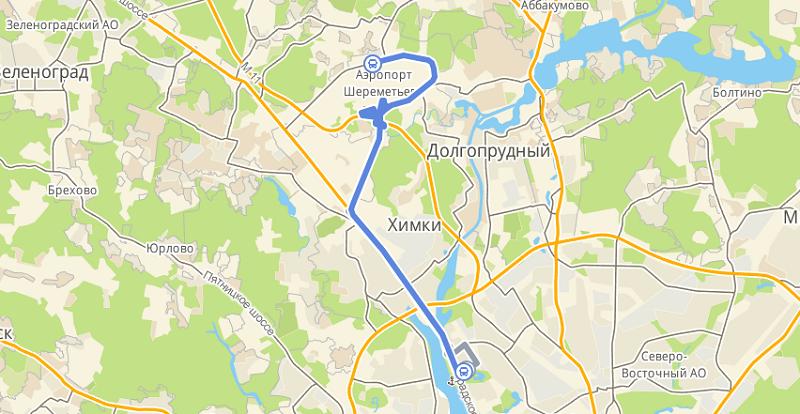 Маршрутка 949: Речной Вокзал - аэропорт Шереметьево