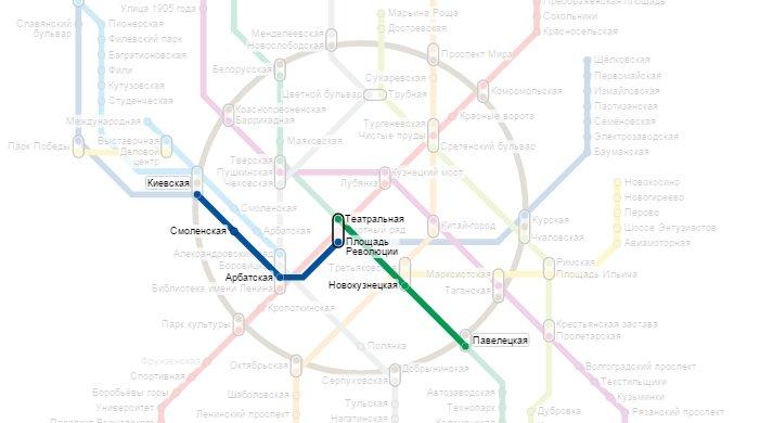 Схема от павелецкого вокзала до киевской