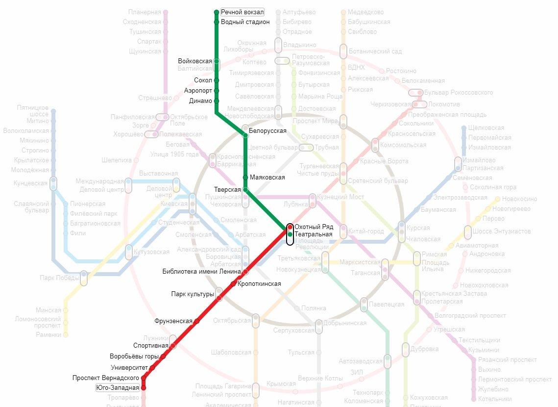 от станции Речной вокзал необходимо ехать до станции Юго-Западная
