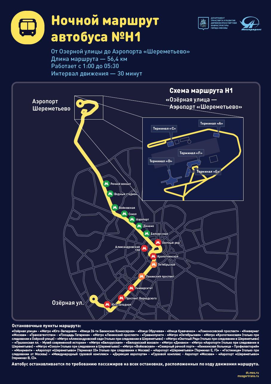 Схема движения автобуса Н1