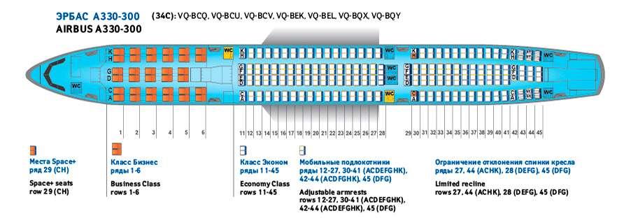 Аэробус А 330-300: лучшие места в салоне эконом-класса