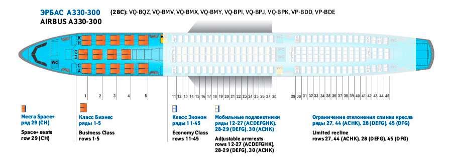 места в салоне бизнес-класса Аэробус А 330 – 200 (28 С)