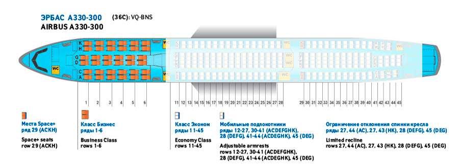 места в салоне бизнес-класса Аэробус А 330 – 200 (36 С)