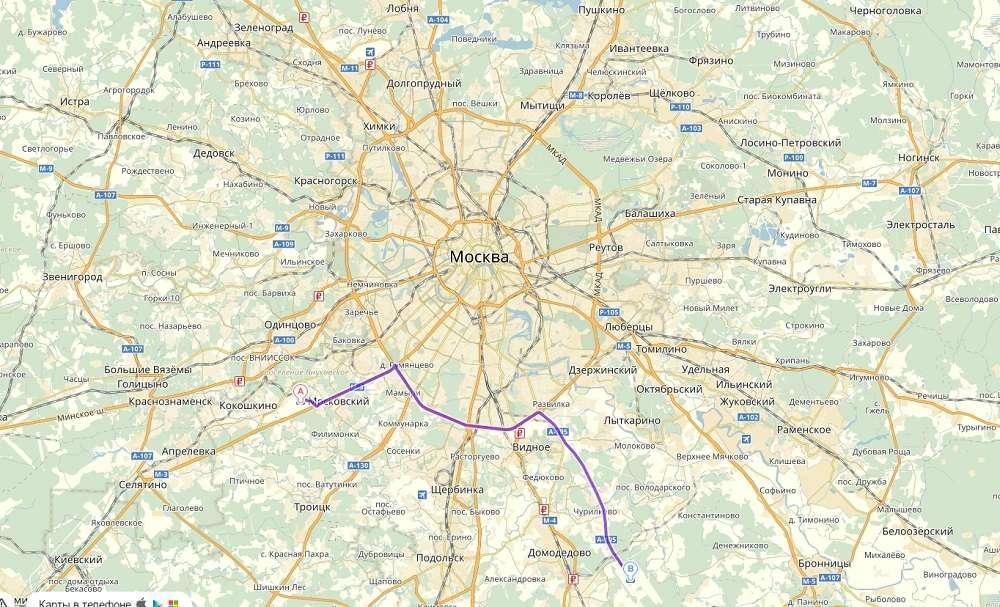 Внуково и Домодедово на карте Москвы