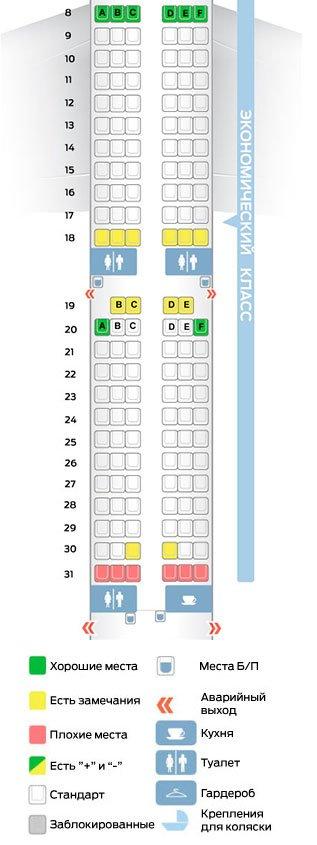 лучшие места в салоне эконом-класса Аэробус А 321