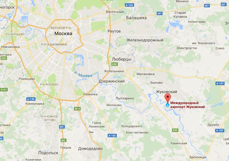 Аэропорт жуковский на карте москвы