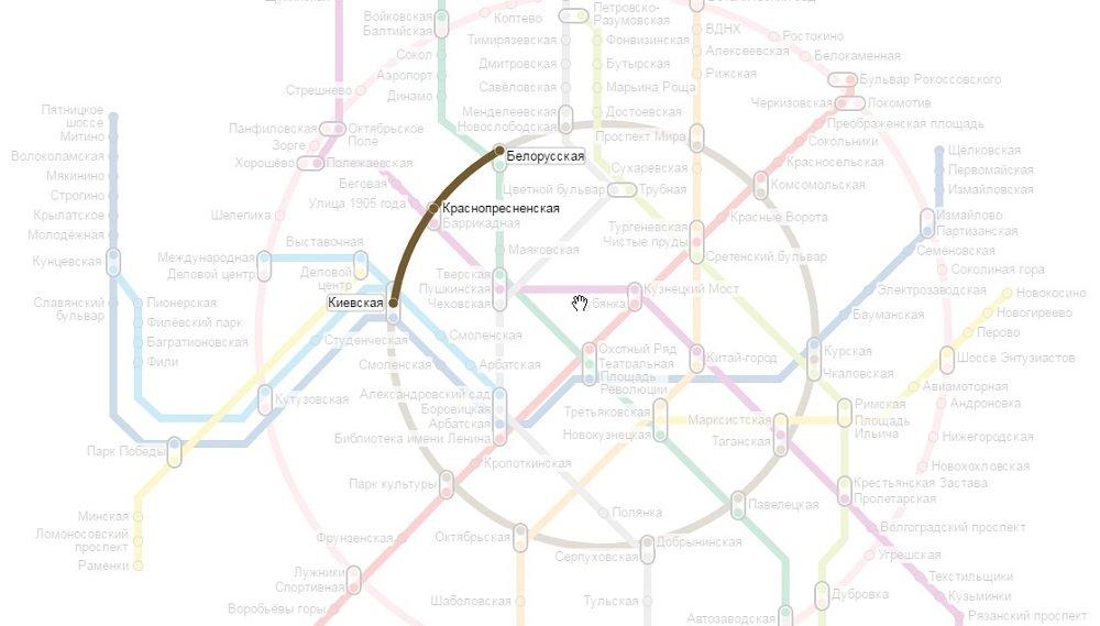 на метро от белорусской до киевской