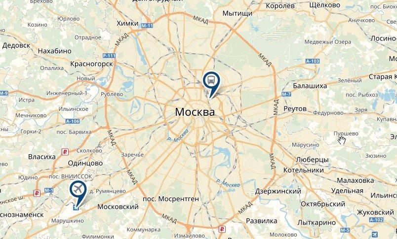 Вокзал и аэропорт на карте