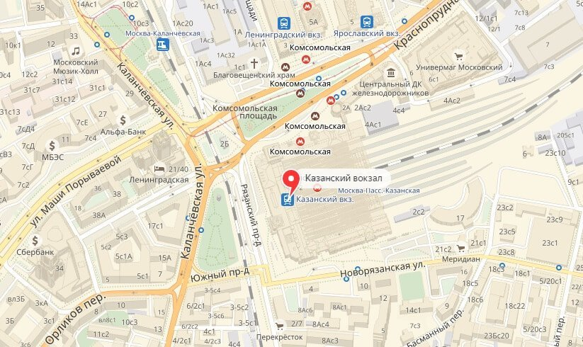 Казанский вокзал на карте