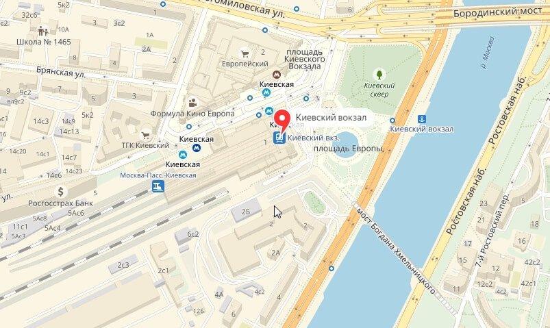 Киевский вокзал на карте