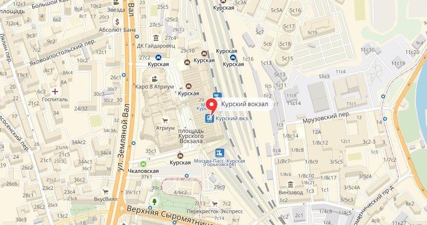 Курский вокзал на карте