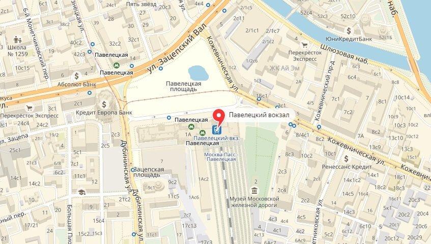Павелецкий вокзал на карте