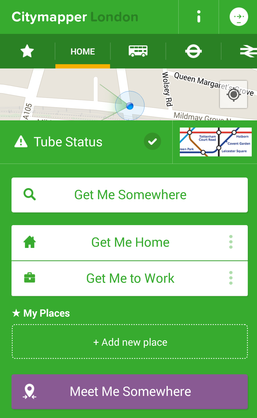 Приложение для путешествий Citymapper
