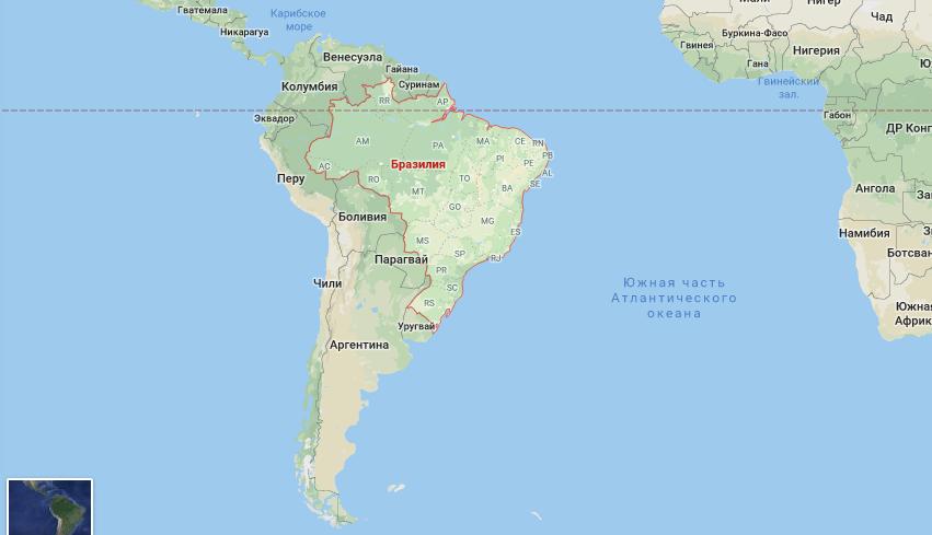 Большая Бразилия на карте мира