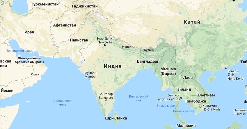 Большая Индия на карте мира