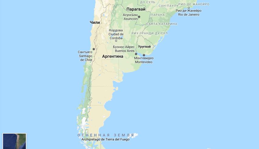 Большая Аргентина на карте мира