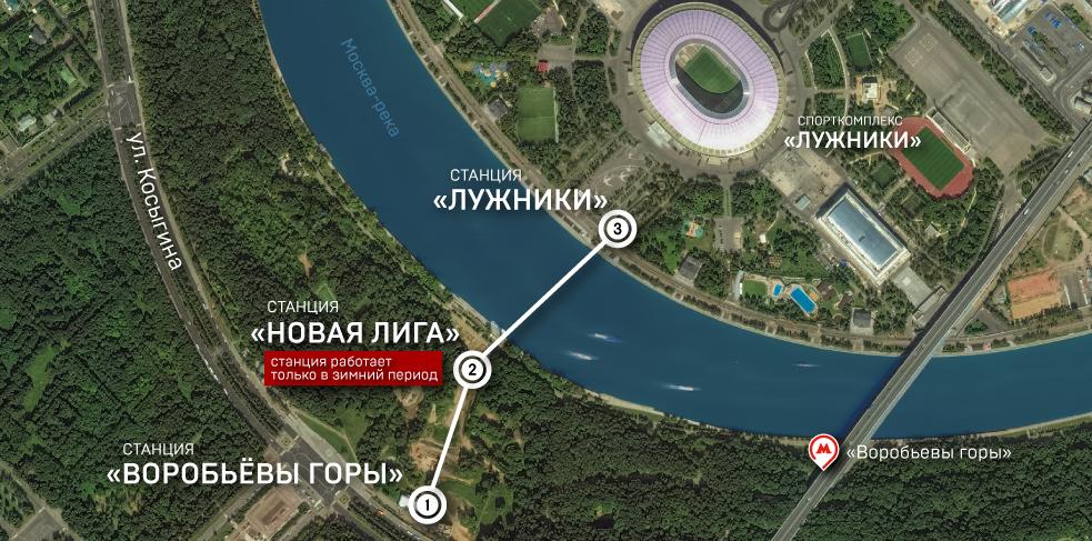 Канатная дорога на карте Москвы