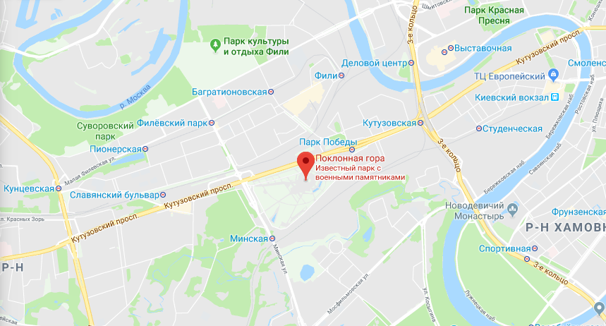 Поклонная гора на карте Москвы