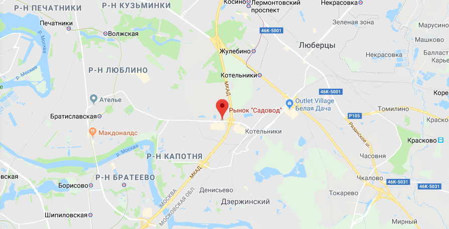 Рынок Садовод на карте Москвы