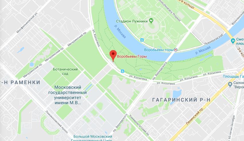 Воробьевы горы на карте Москвы