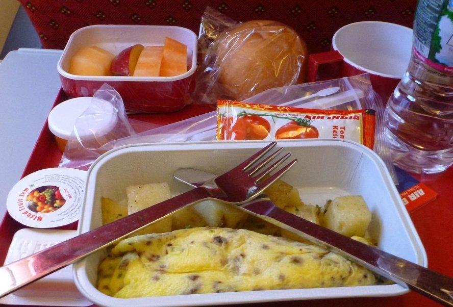 Air India обед на борту самолета