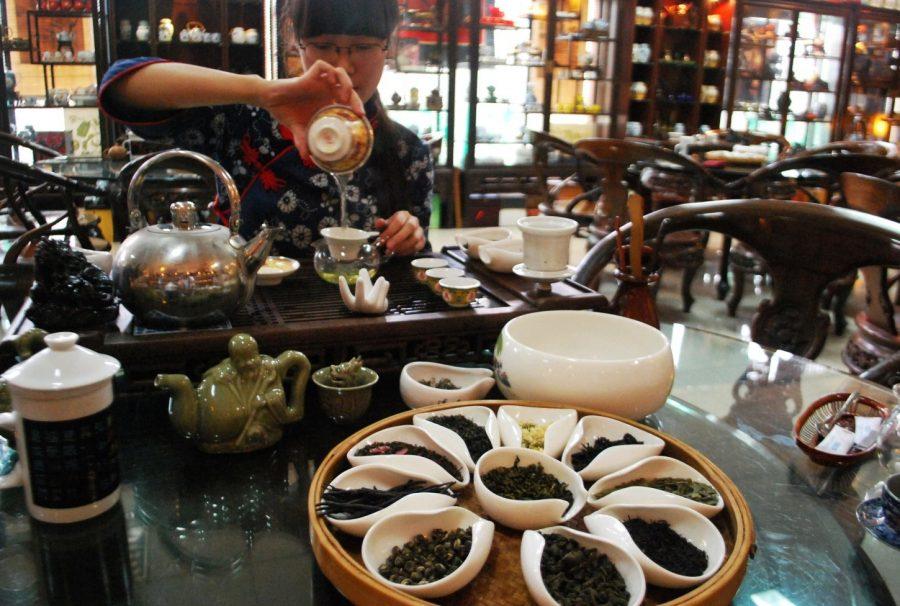 Разнообразные магазины чая в Китае