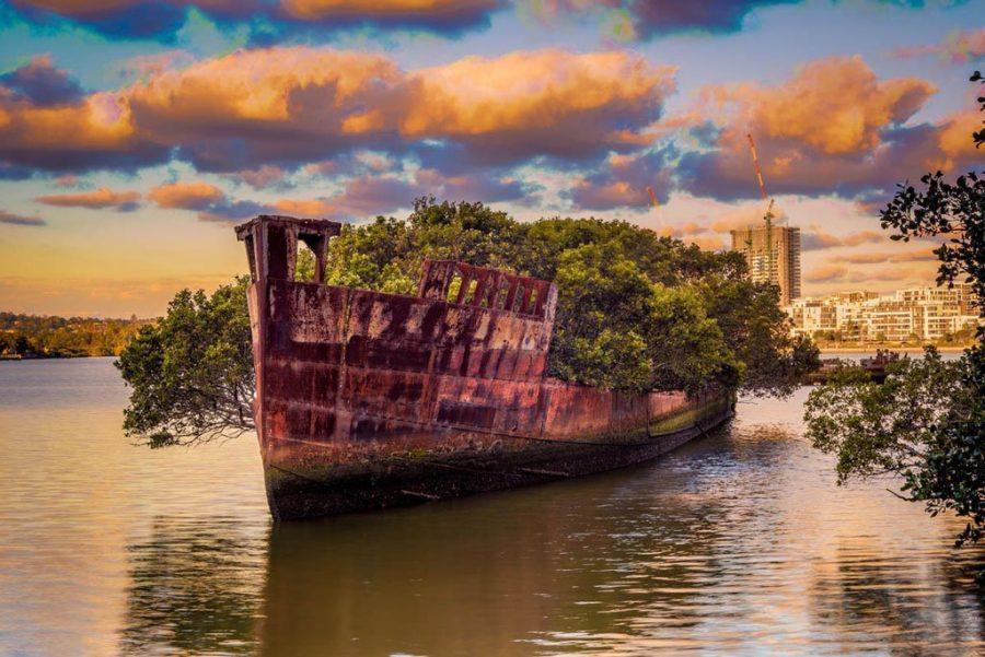 Корабль-лес в Сиднее на воде