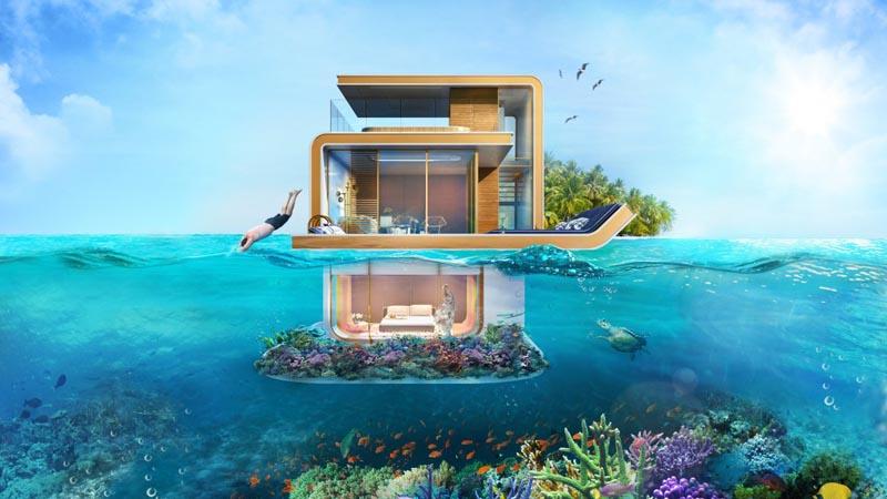 Виллы на воде с подводными спальнями