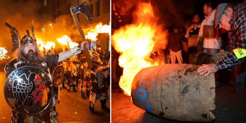 в Шотландии — ночью там катают по наряженным улицам подожженные бочки с дегтем, словно сжигая прошедший год