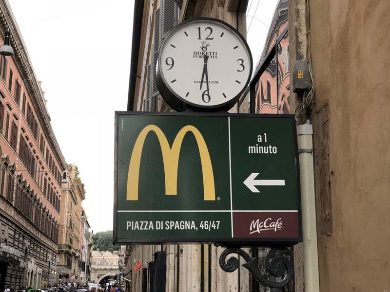 Макдональдс в Риме у Испанской лестницы