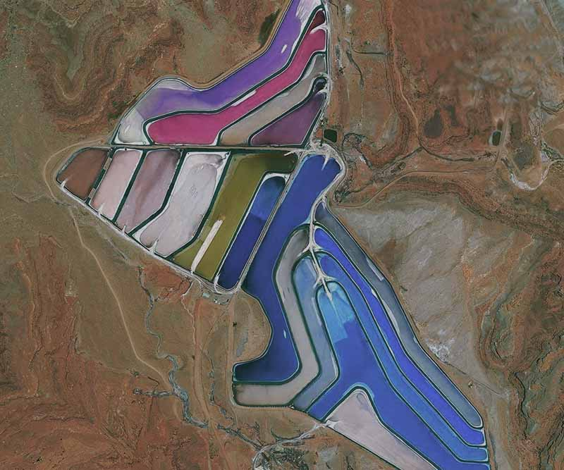 Разноцветные калиевые озера в Солт-Лейк-Сити