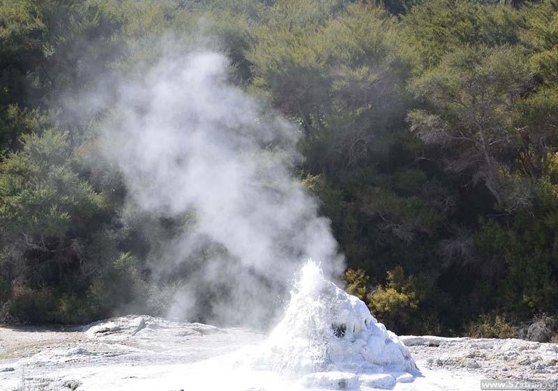 Гейзер Леди Нокс, извергающийся от мыльного раствора