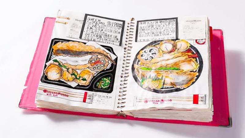 Повар из Японии зарисовывает блюда в дневник