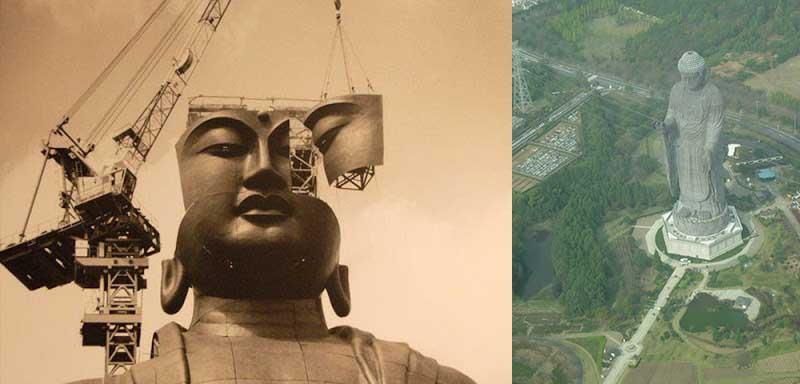 Масса статуи Будды составляет 4 тонны. Построили ее из бронзы.