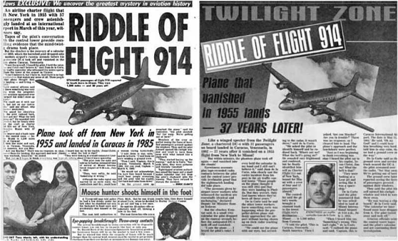 Так американская газета Weekly World News еще за 7 лет до предполагаемого возвращения самолета опубликовала об этом статью, после чего дважды переиздавала ее.