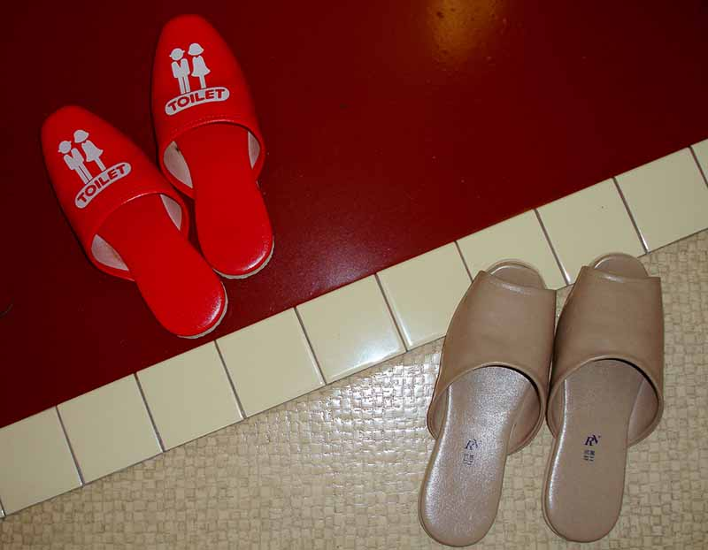 Японские жители очень требовательны к чистоте в своем доме, поэтому перед входной дверью всегда необходимо снимать уличную обувь, одевая специально приготовленные тапочки
