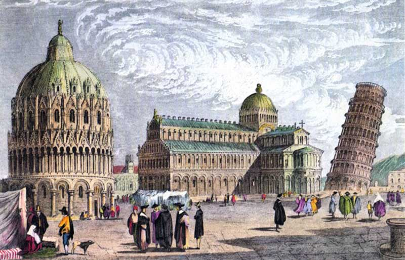 Возведение Пизанской башни началось в 1173 году на соборной площади города Пиза.