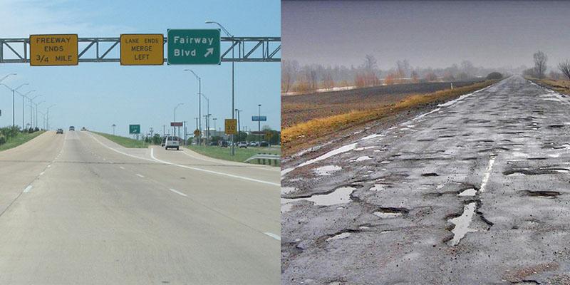 Дороги в США и России