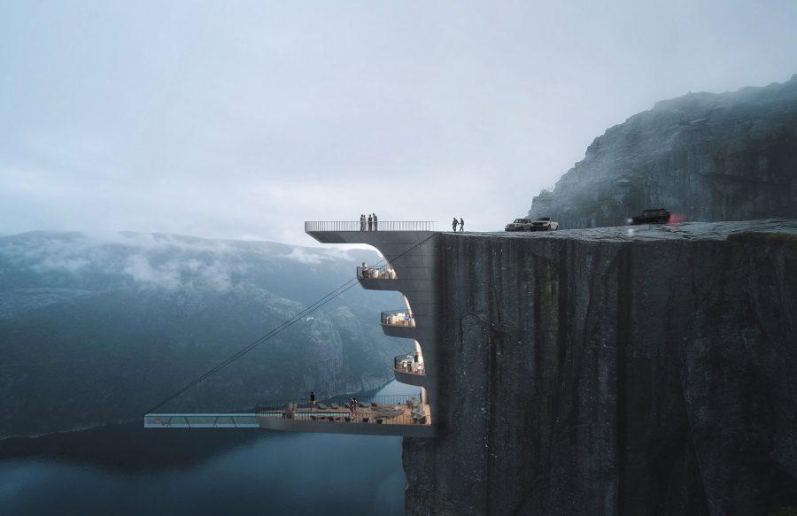 Бассейн над пропастью проект в Норвегии