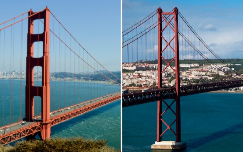Американский Мост Золотые Ворота и португальский Мост 25 апреля