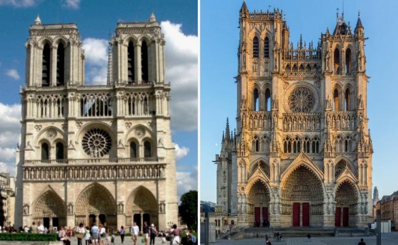 Собор Парижской Богоматери и Амьенский собор во Франции