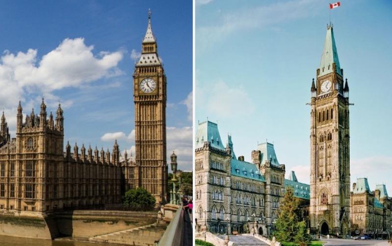 Британский Биг-Бен и канадский Парламентский холм