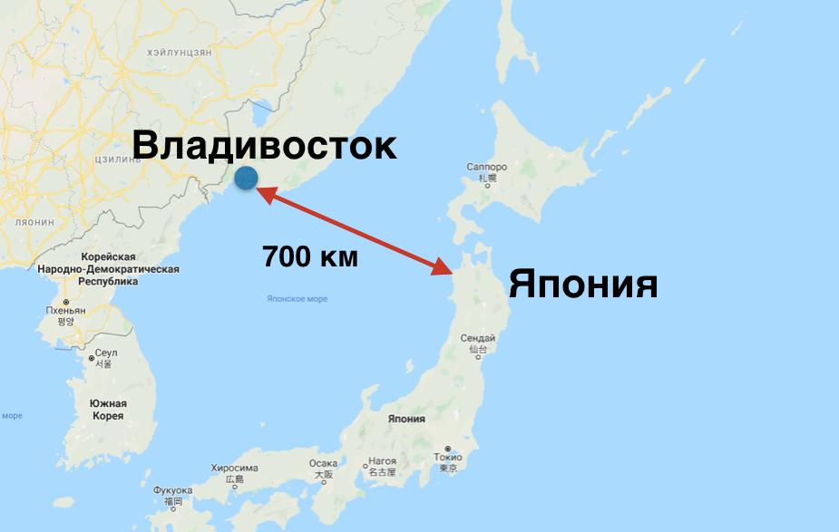 Владивосток и Япония на карте