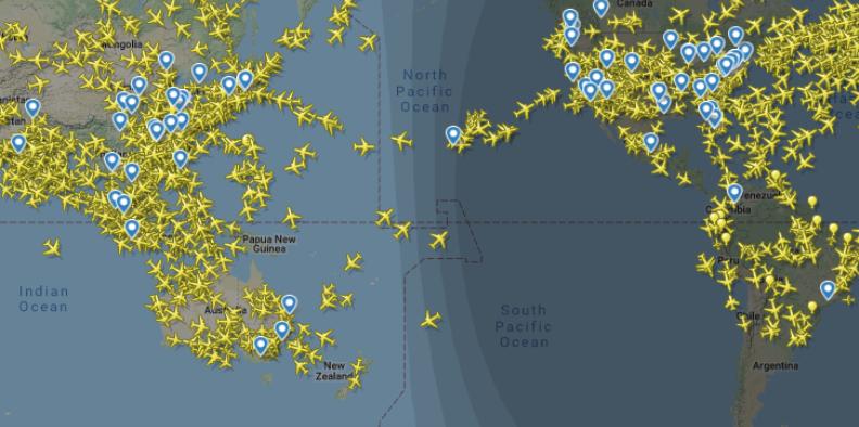 Карта движения самолетов